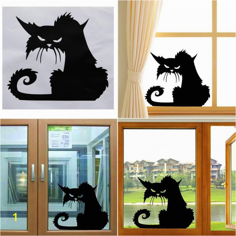 Hot Popular Vinyl Removable 3D Wall Stickers Halloween Black Cat Decor Wall Stickers Decal Murals Self adhesive Paper Art