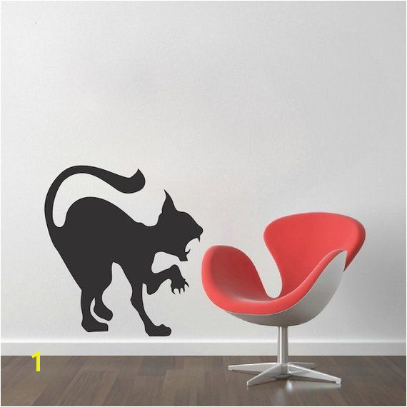 Scary Cat Decal Sticker Halloween Cat Wall Vinyl Decal Black Cat Wall Art Hissing Cat Wall Decal
