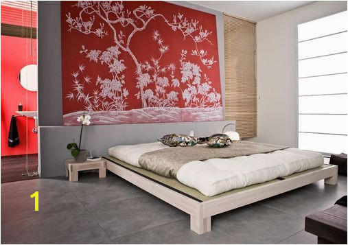 love the mural Halo Bedroom Stylish Bedroom Japanese Style Oriental Style