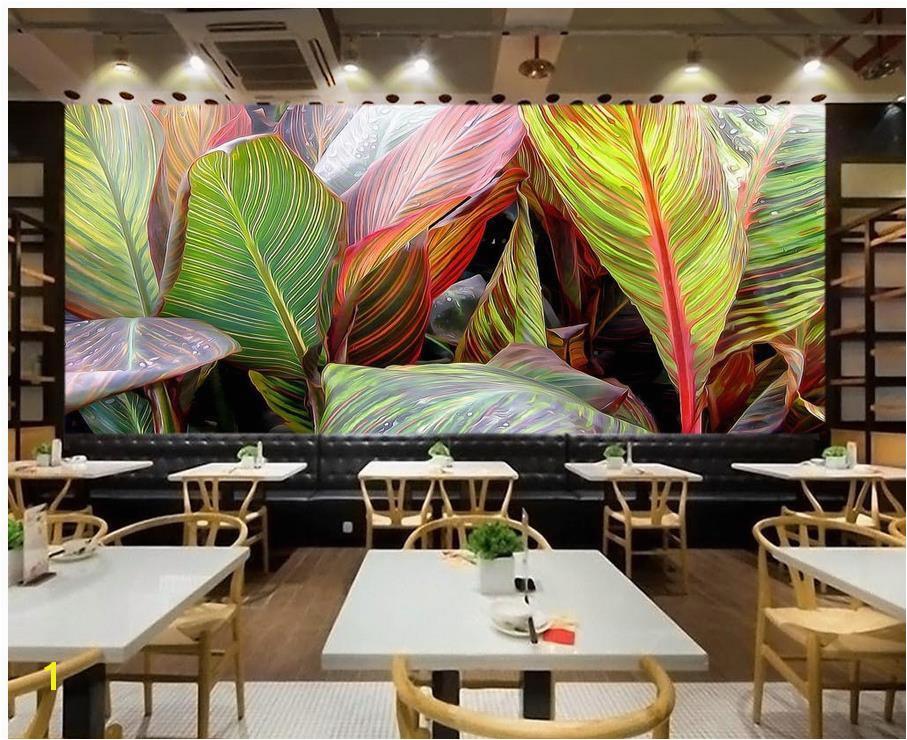 Custom Wallpaper KTV Living Room Wallpaper 3D Painting Original Hand Painted Tropical Rainforest Plant Banana Leaf High Res Desktop Wallpapers High