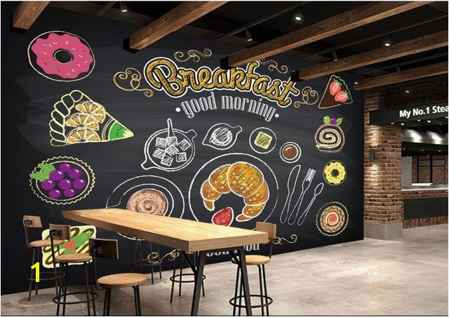 Custom restaurant wallpaper Hand painted coffee breakfast bread 3D murals for cafe restaurant background wall PVC wallpaper