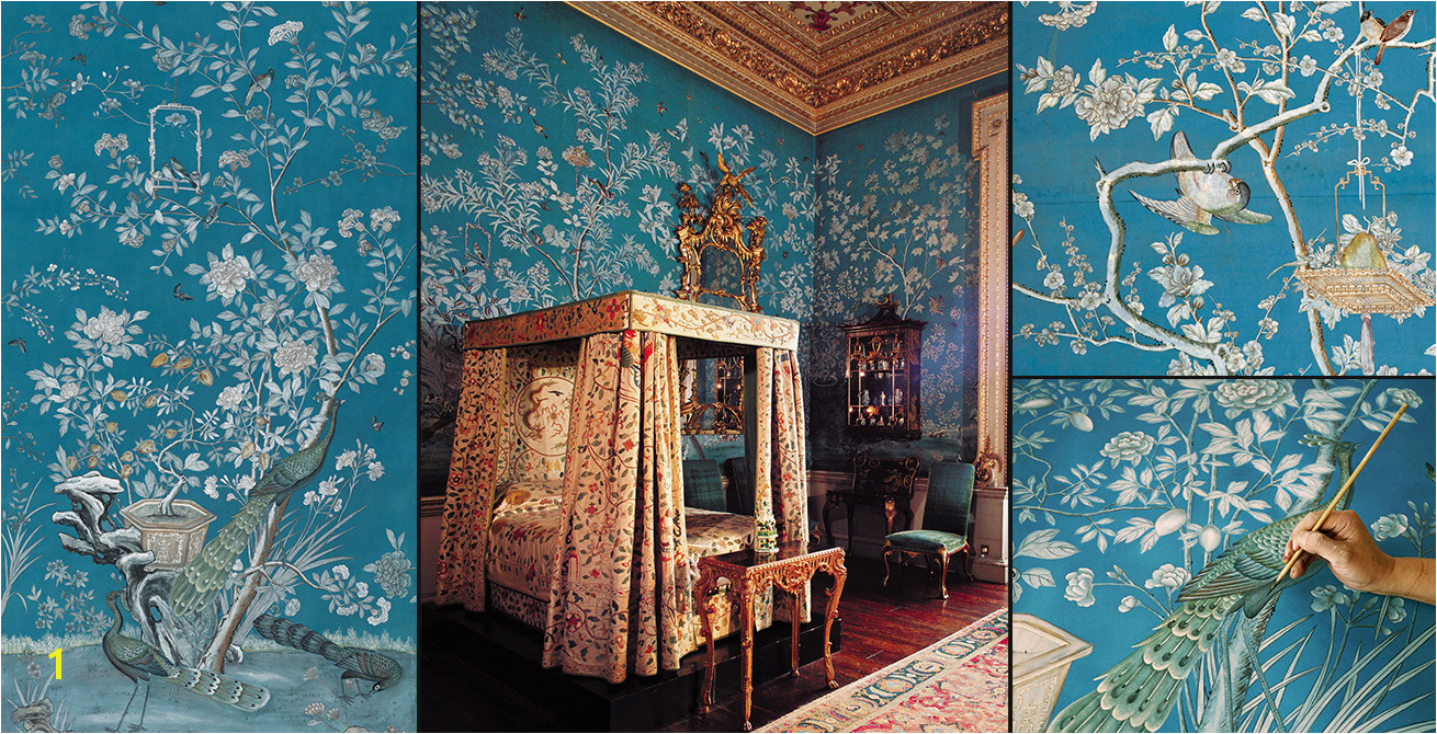 Houghton hand painted wallpaper A new creation of an iconic historical paper