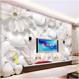 Custom Modern Minimalist 3D Relief Circle Ball Flower Pattern Swan Wall Painting Living Room Sofa TV Background Mural Wallpaper