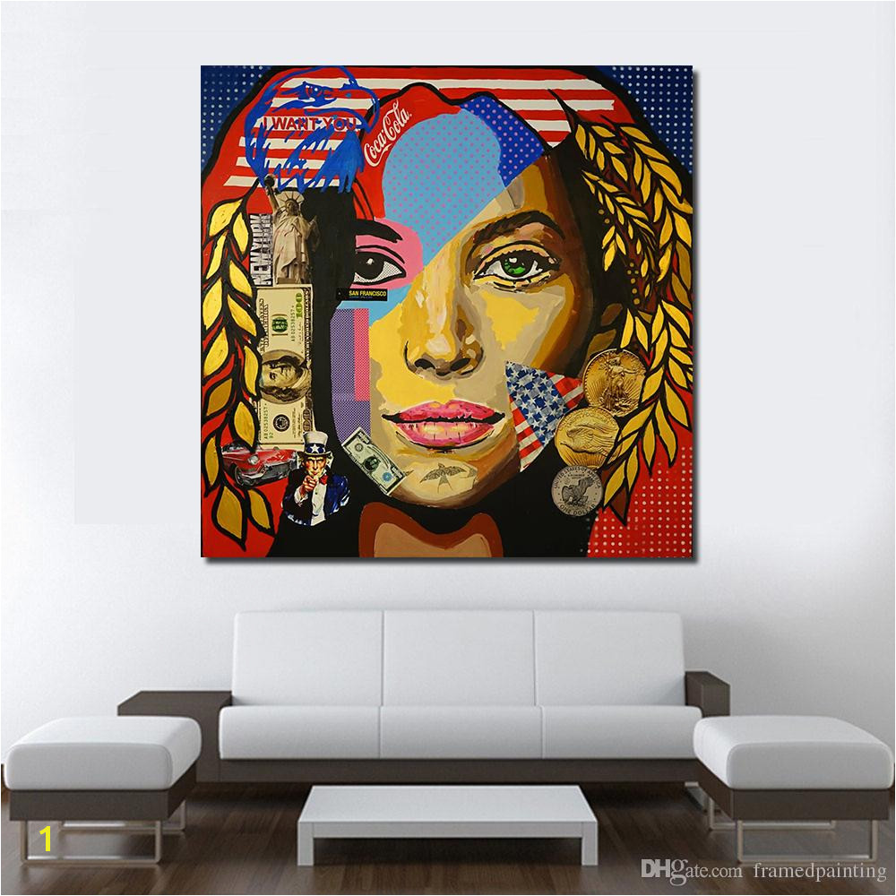 Hanging Canvas Murals Miss America Oil Painting Wall Art Canvas Decorative Living Room