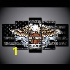 Harley Davidson bar and shield with eagle and black and white american flag as backdrop ASH Wall Decor