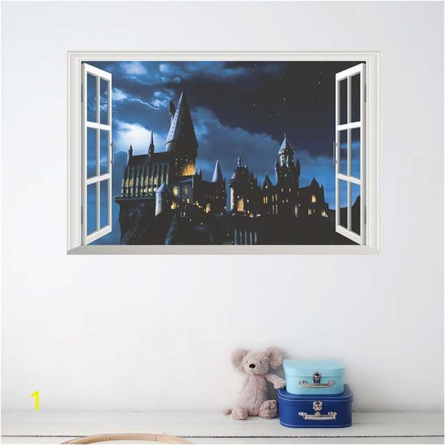 3d Effect Hogwarts School Window 50 70cm Wall Stickers Bedroom Home Decor Harry Potter Wall Decals Pvc Mural Art Diy Poster
