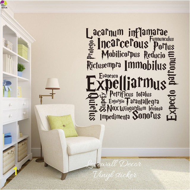 Harry Potter Quote Wall Sticker Kids Room Hogwarts Movie Spells Wall Decal For Living Room Cut Vinyl Easy Removable Home Decor