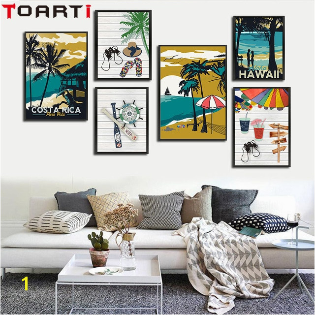 Modern Hawaii Aruba Costa Rica Impressionist Style Canvas Art Paintings Prints Wall Picture for Living Room Home Decor No Frame