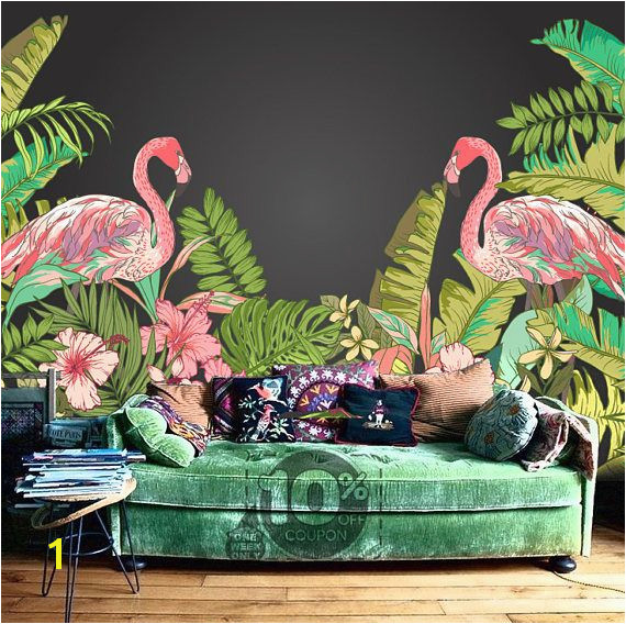 Tropical Flamingo Peel & Stick Wallpaper Hawaii Plant Forest Removable Wall Mural Summer Holiday Wall Sticker Trees Leaves Green Nature