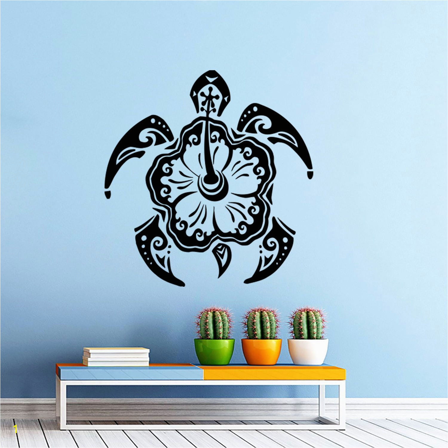 Wall Decal Turtle Animal Stickers Hawaiian Style Bathroom Decor Art Murals D553