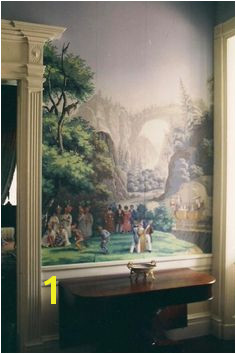 "Glorious ancient ""Scenes of North America"" hand painted Zuber paper in the halls of historic Monmouth Hall in Natchez Mississippi"