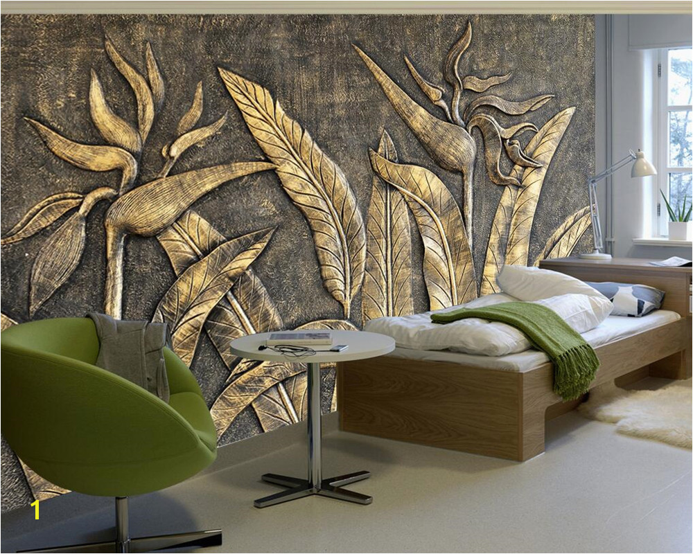 Beibehang Custom wallpaper murals golden bird of paradise sculpture wall TV background wall living room bedroom 3d wallpaper in Wallpapers from Home