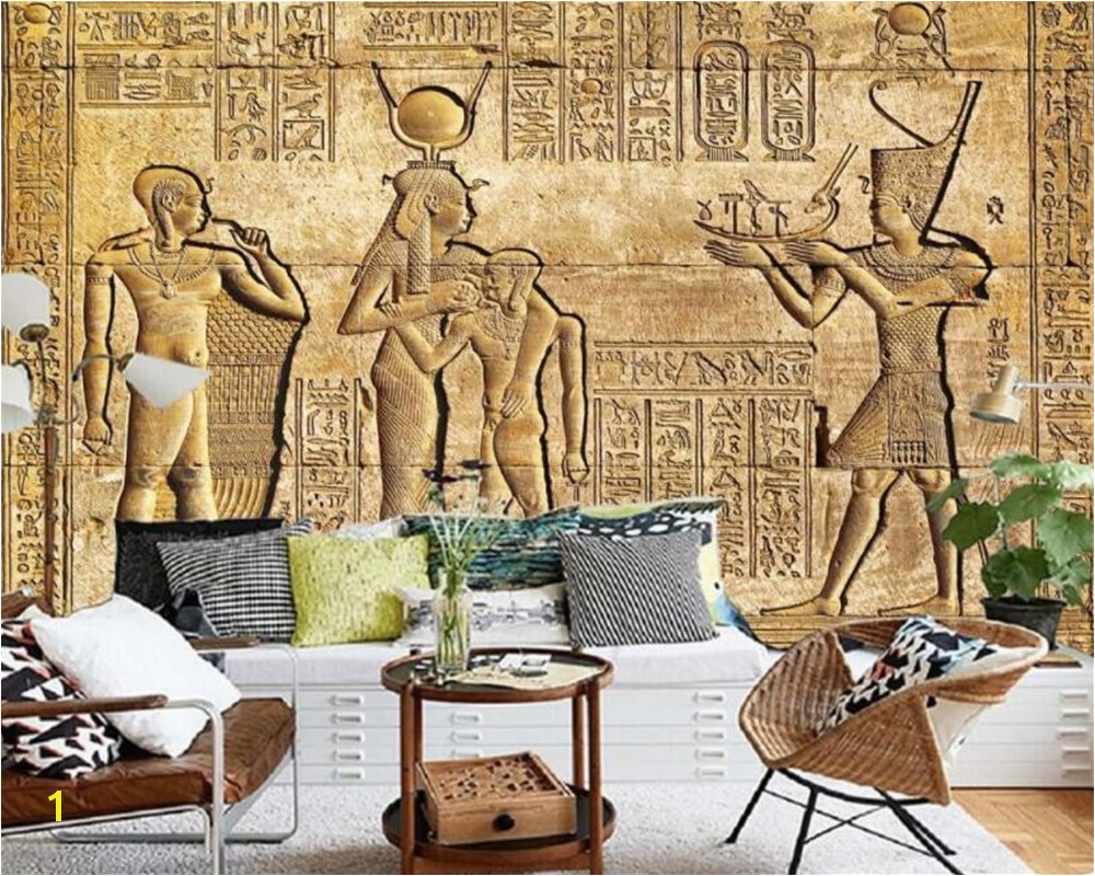 Historic Wallpaper Murals Custom Silk Material Wallpaper Hd Egyptian Reliefs Mural Mythology