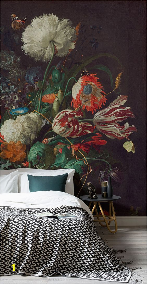 How to achieve the dark wall look with ease This art wallpaper mural showcases de Heem s Vase of Flowers giving your home a touch of art history as well