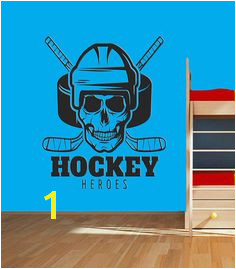 Hero Hockey Wall Decals Hockey Skull Head Wall Sticker Ice Hockey Wall Vinyl Decor Kids Room Bedroom Hockey Emblem Wall Decoration se072