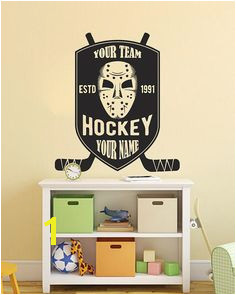 Personalized Hockey Wall Decal Ice Hockey Team Logo Wall Sticker Hockey Team Wall Vinyl Decor Kids Bedroom Hockey Logo Wall Art se080
