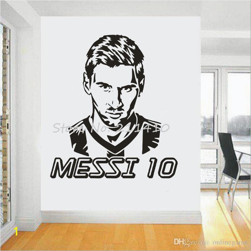 Football Team Logo Wall Art Sticker Messi Vinyl Wall Sticker For Boys Room Removable House Decor Football Star Decal Wall Mural Decal Vinyl Art Stickers