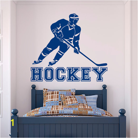Hockey Wall Decal Sports Sports Wall Decal Stickers Hockey Player Teens Boys Room Bedroom Dorm Coll