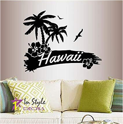 In Style Decals Wall Vinyl Decal Home Decor Art Sticker Hawaii Palm Trees Flower Beach