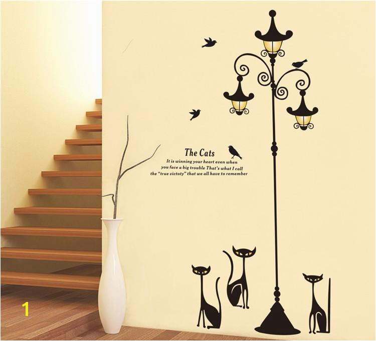 Home Decor Mural Art Wall Paper Stickers New Design Adhesive Home Decoration 3 Little Cat Under Street Lamp
