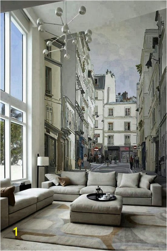 Home theater Wall Murals 15 Living Rooms with Interesting Mural Wallpapers