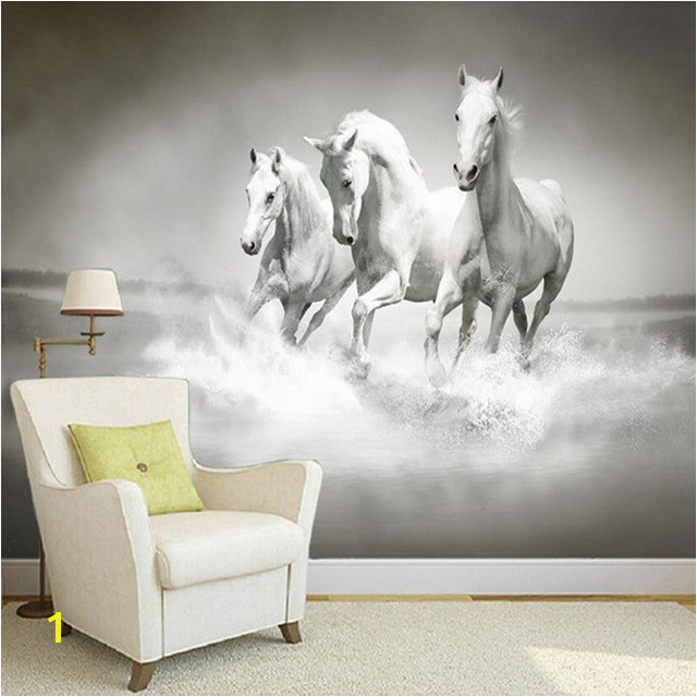 Beautiful HD White Horse Running 3D Stereo Mural Wallpaper Bedside Study Home Decor Backdrop Wall