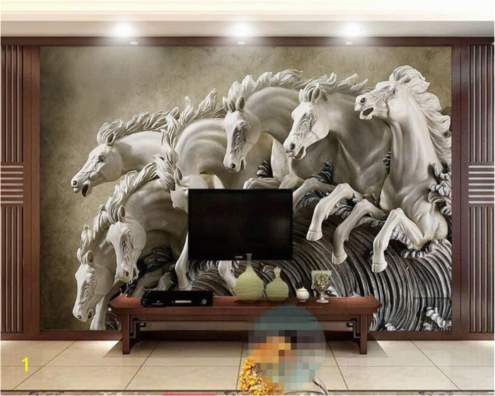 Beibehang 3D Wallpaper Stereo Horse Relief Background Wall Mural 3D Living Room Bedroom TV Background Mural papel de parede