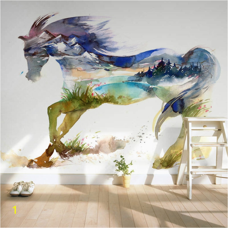 Children s Room Wall Paper Sticker Painted Horse Wallpaper Mural 3D Living Room Bedroom Self Adhesive Vinyl Silk Wallpaper in Wallpapers from Home