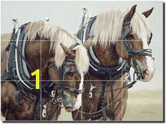 Harmony by Adeline Halvorson horse tile mural backsplash RW AH001 store Artwork Tile