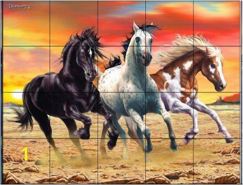 Galloping Horses by Interlitho Designs Kitchen Backsplash Bathroom wall Tile Mural image for more details