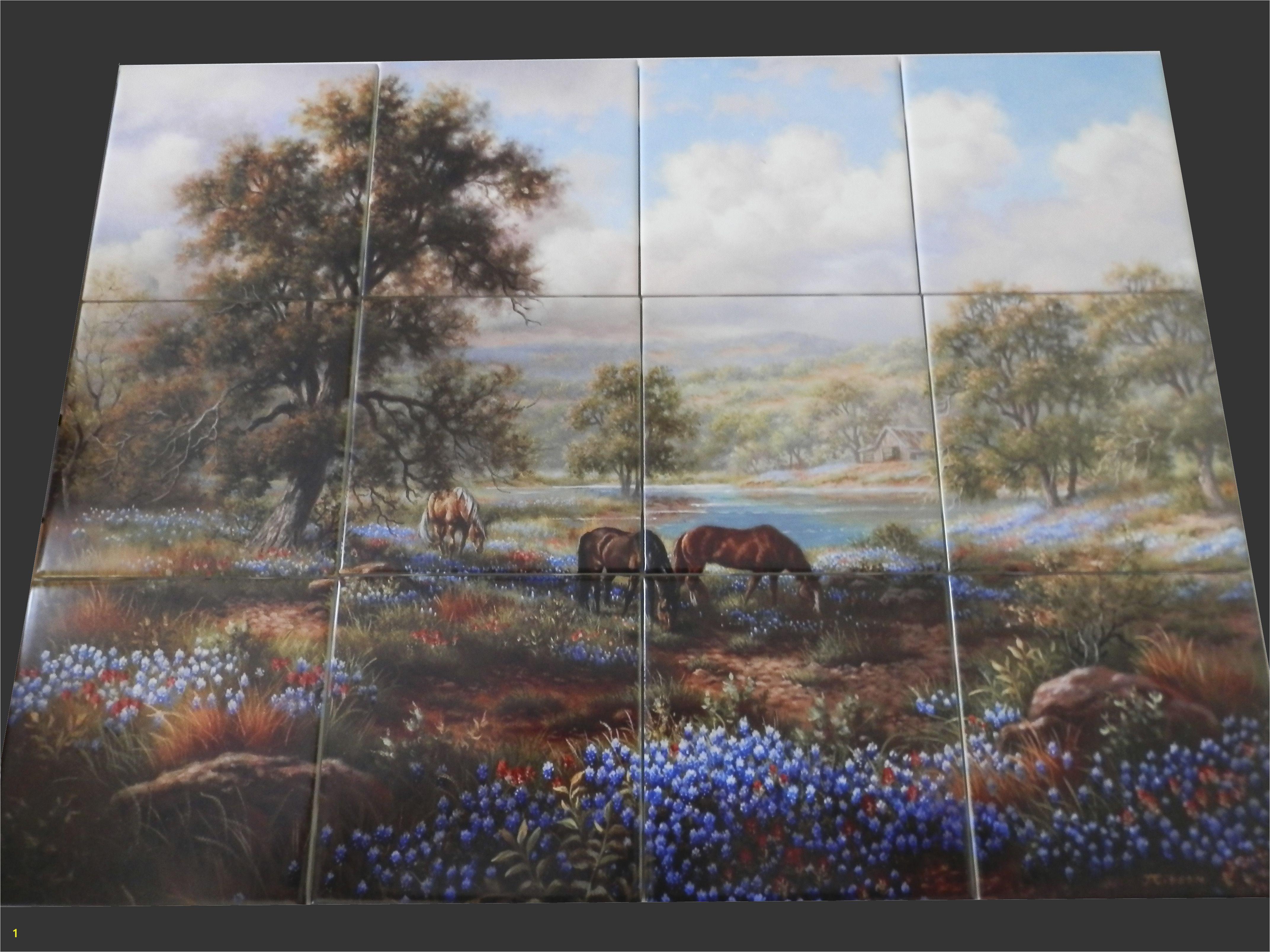 Decorative horse themed tiles make an impressive kitchen backsplash idea You can use a tile