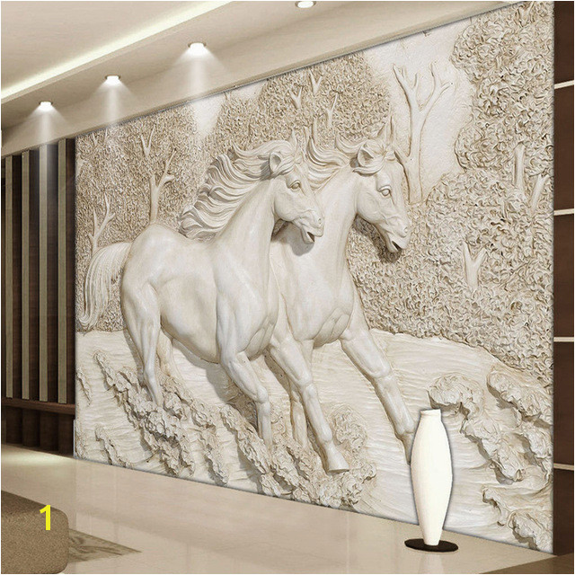 Custom Mural Wallpaper 3D Stereo Relief White Horse Wall Murals Classic Living Room TV Backdrop Home Decor Wall Paintings