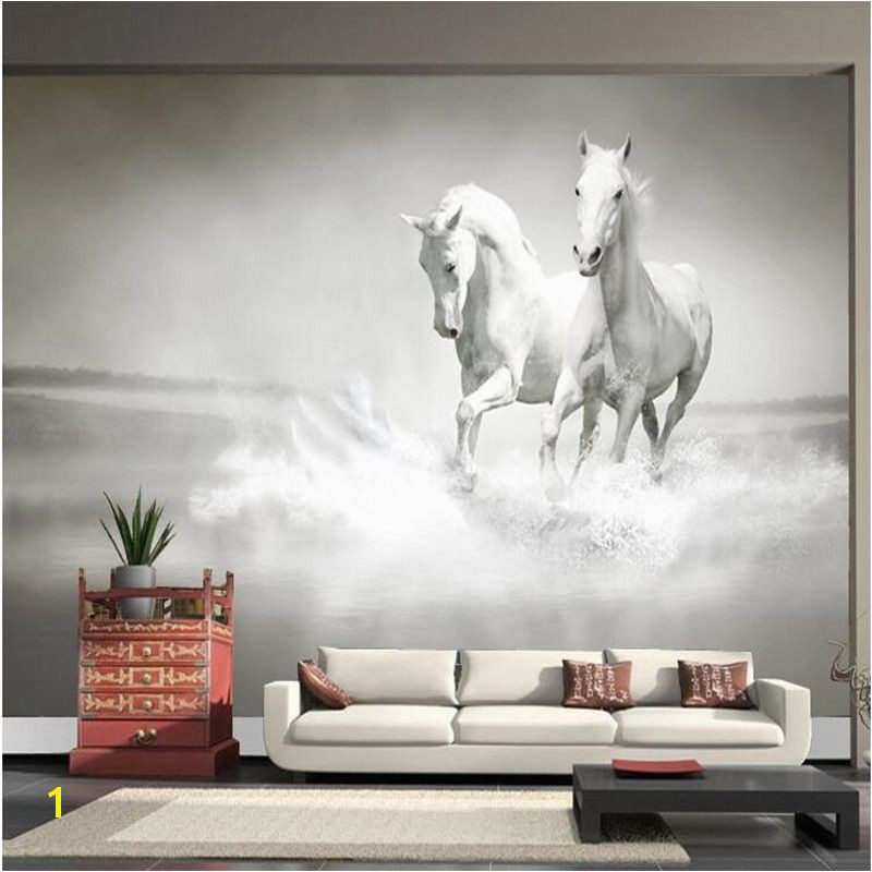 photo wallpaper Horse White Horse large mural Continental back wall sofa bedroom TV backdrop 3d mural wall paper living room Affiliate