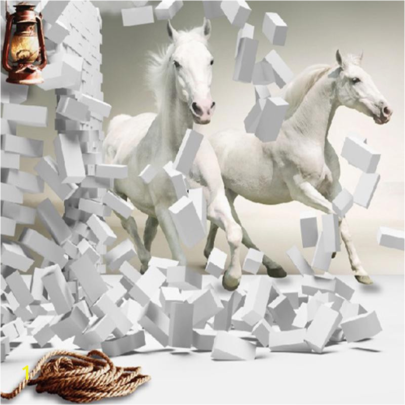 Wholesale 3d White Horse Wall Murals Wallpaper Canvas 3d Horse Custom Wall Paper Murals For Living Room Wallpaper Murals Wallpapers For Hd Wallpapers For