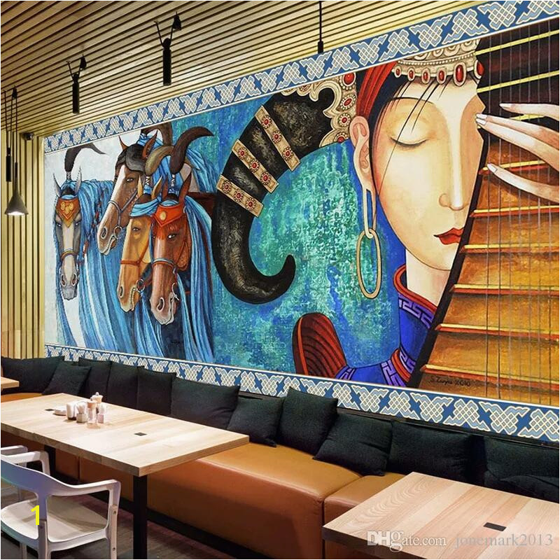Custom Mural Wallpaper Lute Horses Hand Painted Abstract Art Wall Painting Restaurant Cafe Living Room Hotel Fresco Wall Paper Top Wallpapers For Desktop