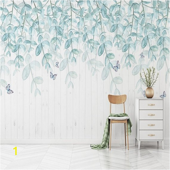 Watercolor Mint Leaves Wallpaper Wall Mural Hanging Leaf Branch Wall Decal Fresh Spring Elegant Wa