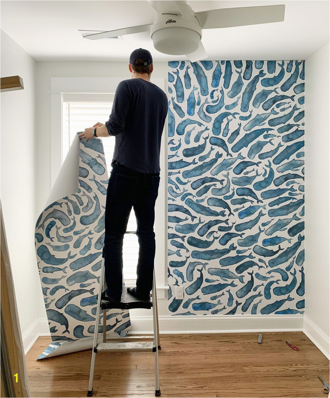 Society6 Removable Wall Mural Wallpaper With Whale In Small Room