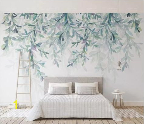 Watercolor Hanging Leaves Wallpaper Wall Mural Hanging Leaves Wall Murals Hand Painted Fresh Water