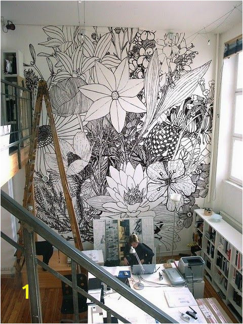 It would be neat to draw a picture and then blow it up on the wall and paint it wall drawings Charlotte Mann