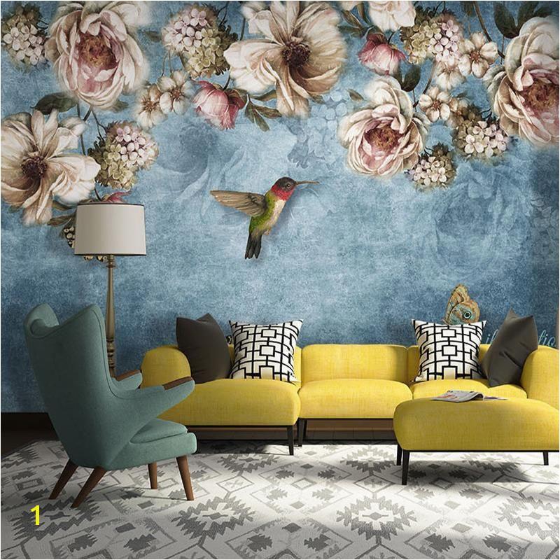 European Style Bold Blossoms Birds Wall Mural bvmhome wallpaper wallmural interiordesign