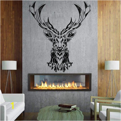 Wall Decal Vinyl Sticker Decals Art Decor Design Elk Deer Woodland Hunting Horns Animal Gift Bedroom Modern Dorm Fashion Style M1462