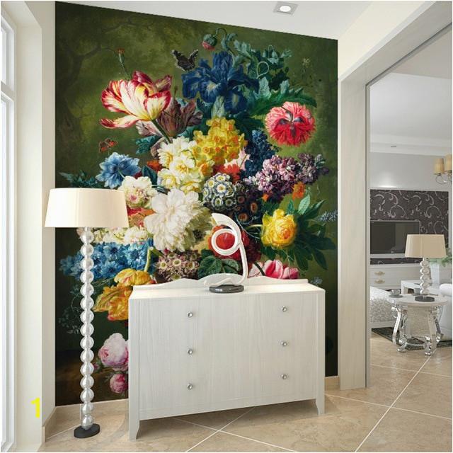 Fashion Interior Flower Design Oil Painting 3D Mural Wallpaper Hotel Lobby Living Room Entrance Corridor Decoration 3D Wallpaper