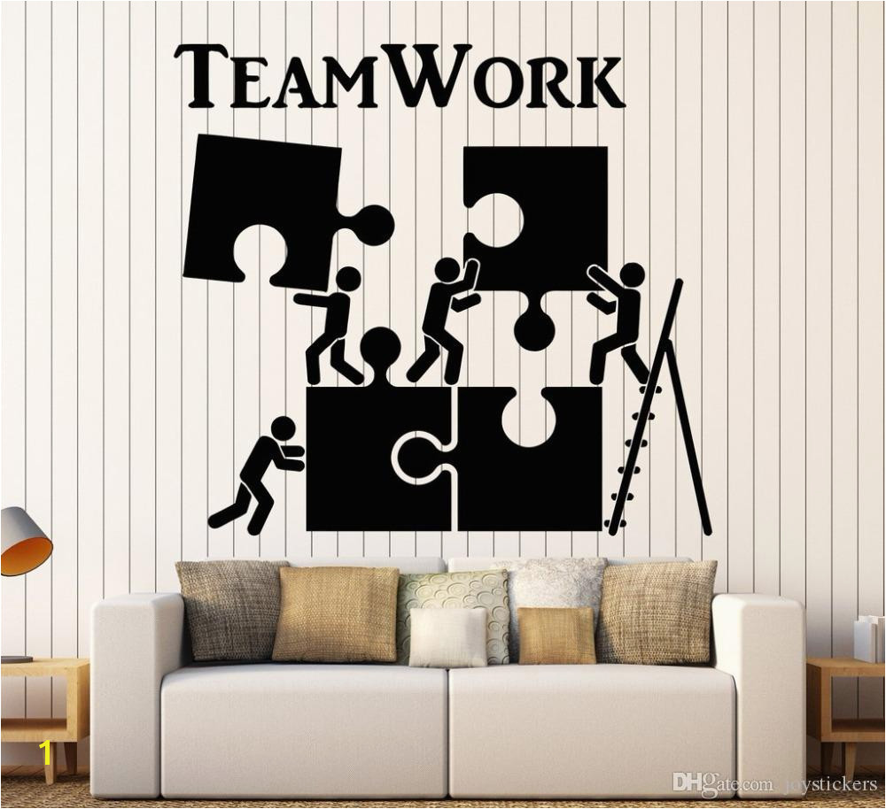 Vinyl Wall Decal Teamwork Motivation Decor For fice Worker Puzzle Wall Stickers Modern Interior Art Wall Decoration Hot Wall Mural Decals Cheap Wall Mural