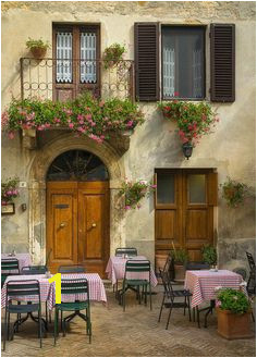 Italian Cafe Wall Art Pienza Print Tuscany graphy Italy Rustic Flowers Plants Table Chair Travel graphy Print Wall Art