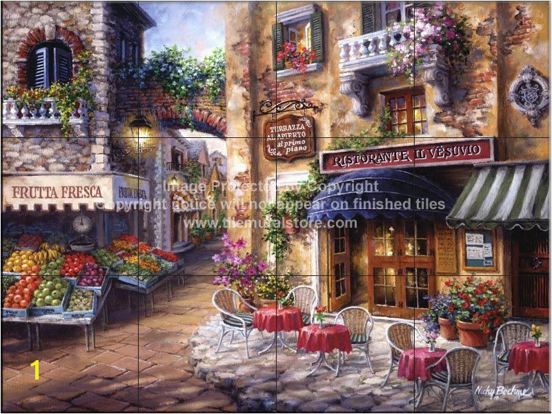 Italian Cafe Wall Murals Buon Appetito 2 Tile Mural Kitchen Ideas Pinterest