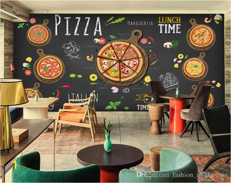 Custom 3D wallpaper for walls 3D Pizza Shop Wall Mural Coffee Bread Wallpaper Restaurant dinning Cafe