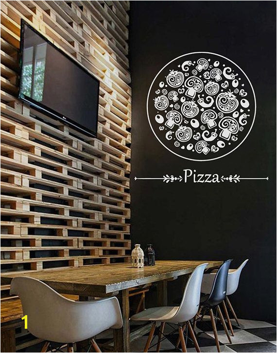 kik1068 Wall Decal Sticker Pizza mushroom Italian Restaurant Pizzeria
