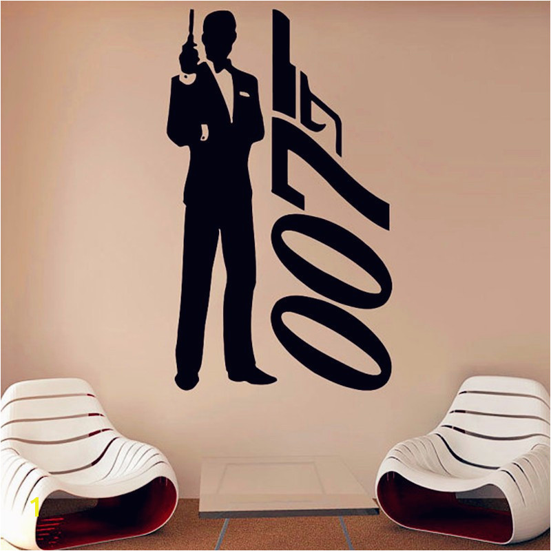JAMES BOND DANIEL CRAIG 007 MOVIE FILM SILHOUETTE WALL ART STICKER DECAL REMOVABLE VINYL ROOM DECORATION