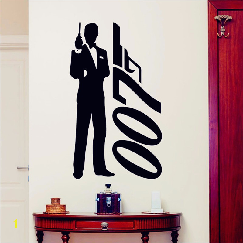 James Bond Wall Mural James Bond Wall Sticker 007 Movie Superhero Posters Boys Room Wall