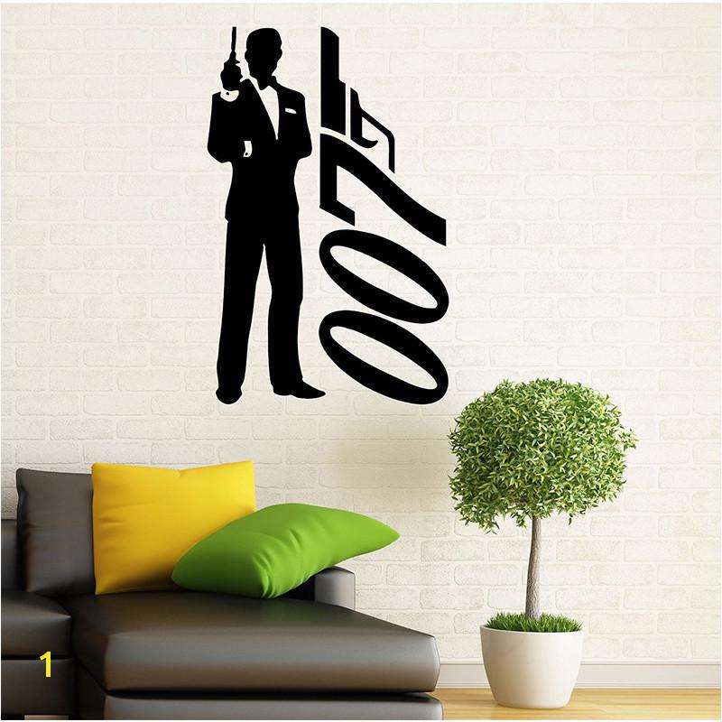 James Bond Wandtattoo Vinyl Aufkleber Geheimagent 007 Innen Hause Kunst Wandmalereien Schlafzimmer Wohnkultur in James Bond Wandtattoo Vinyl Aufkleber